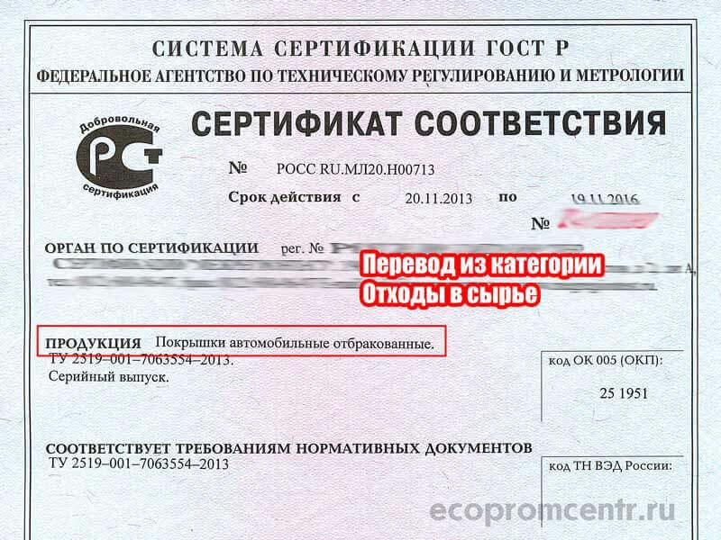 сертификация отходов как продукции